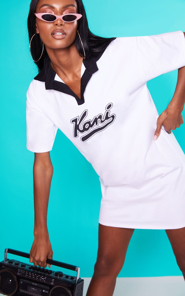 KARL KANI White Rugby T-Shirt Dress