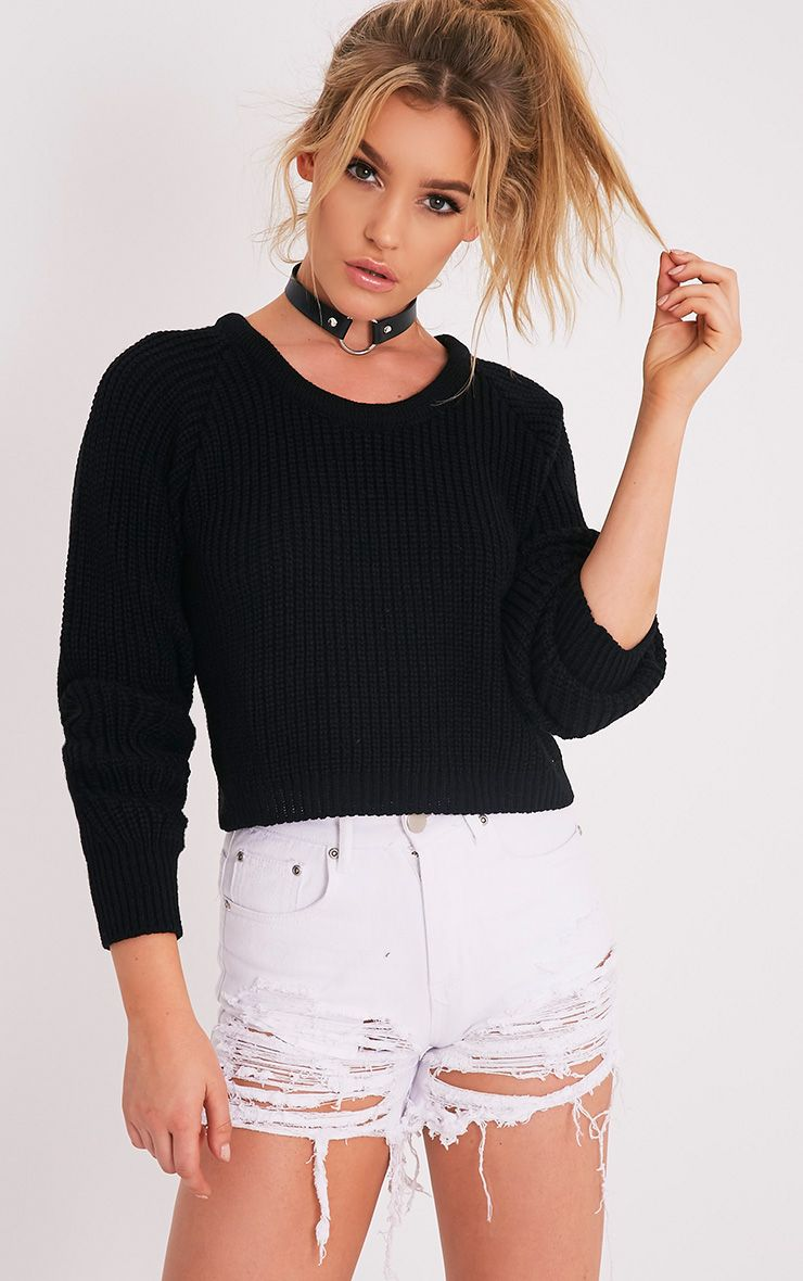 Oceana Black Mixed Knit Cropped Jumper 1