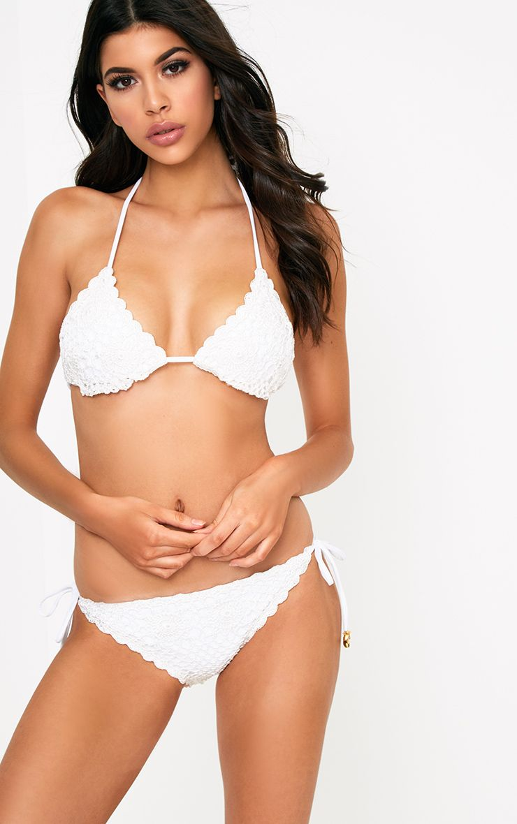 Ivory Crochet Tie Side Bikini Bottoms