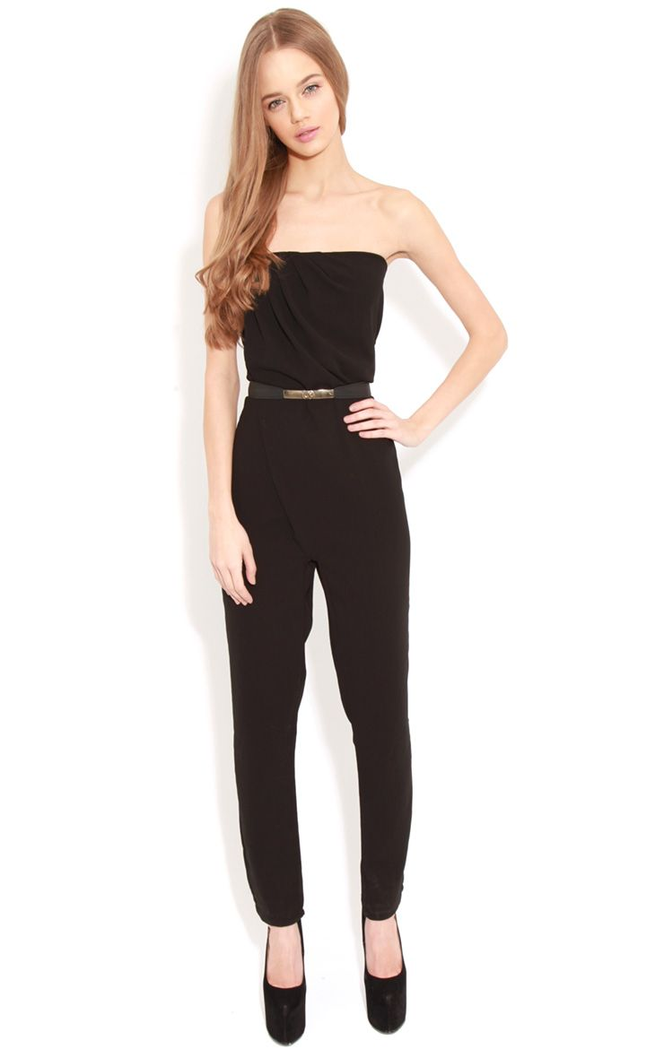 Ellie Black Strapless Jumpsuit With Belt 1