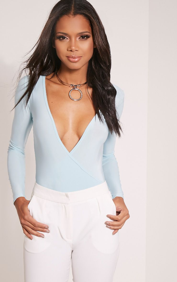 Sadie Blue Slinky Wrap Bodysuit 1