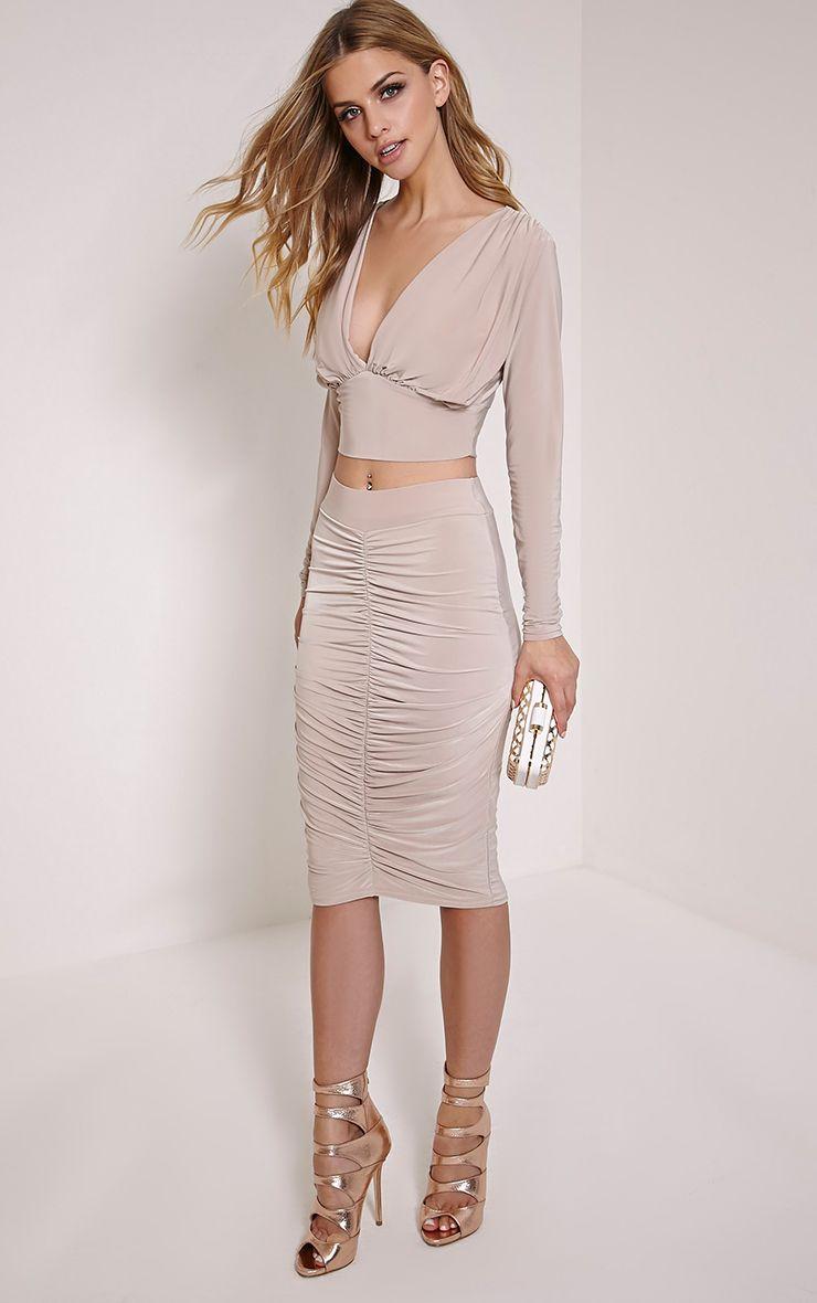 Nicole Stone Slinky Ruched Midi Skirt 1