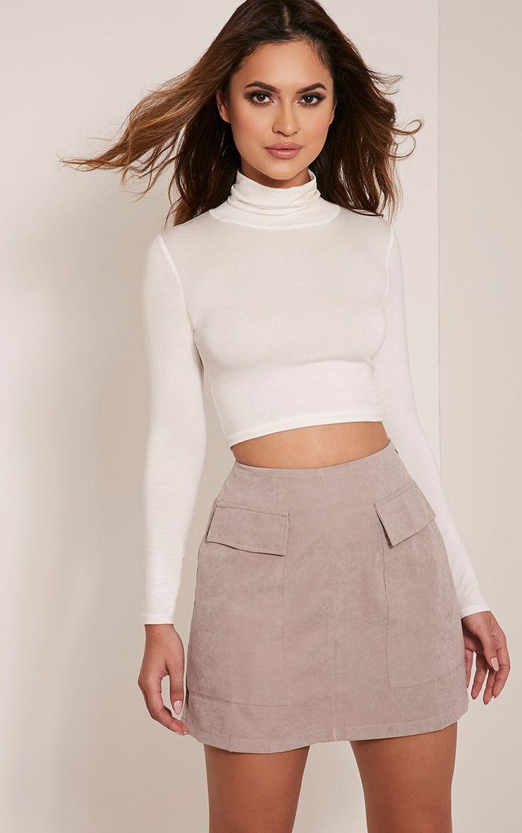 Lottie Grey Faux Suede Pocket Front Mini Skirt 1