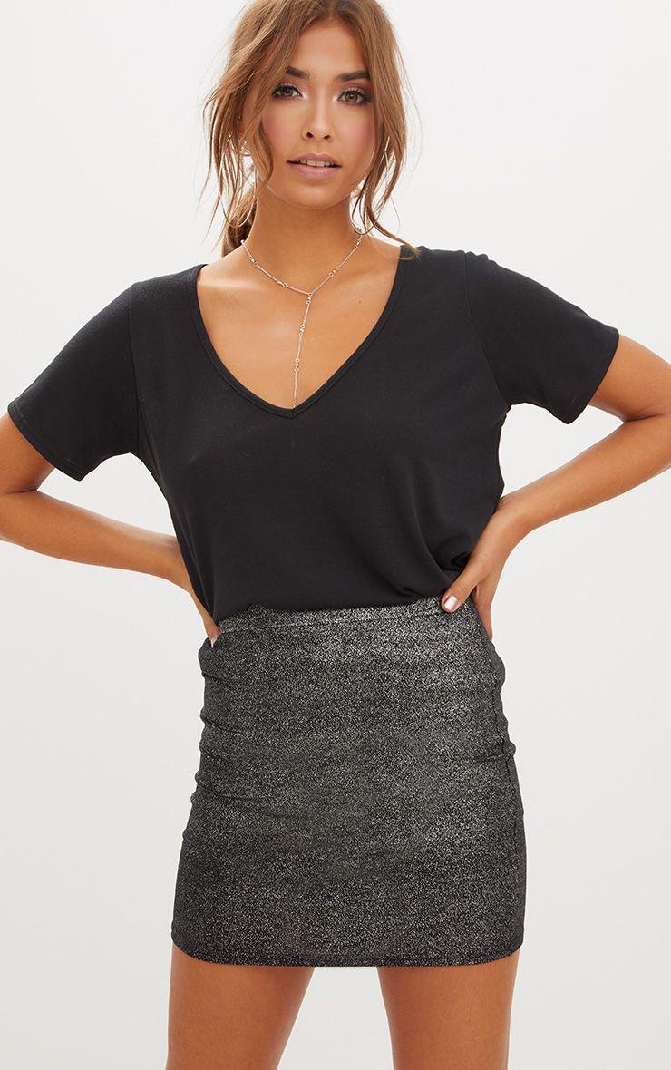 Black Speckle Foil Mini Skirt