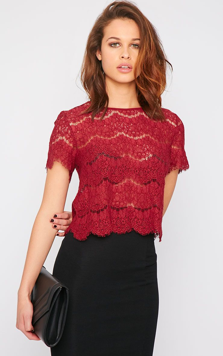 Ninette Wine Lace Crop Top  1