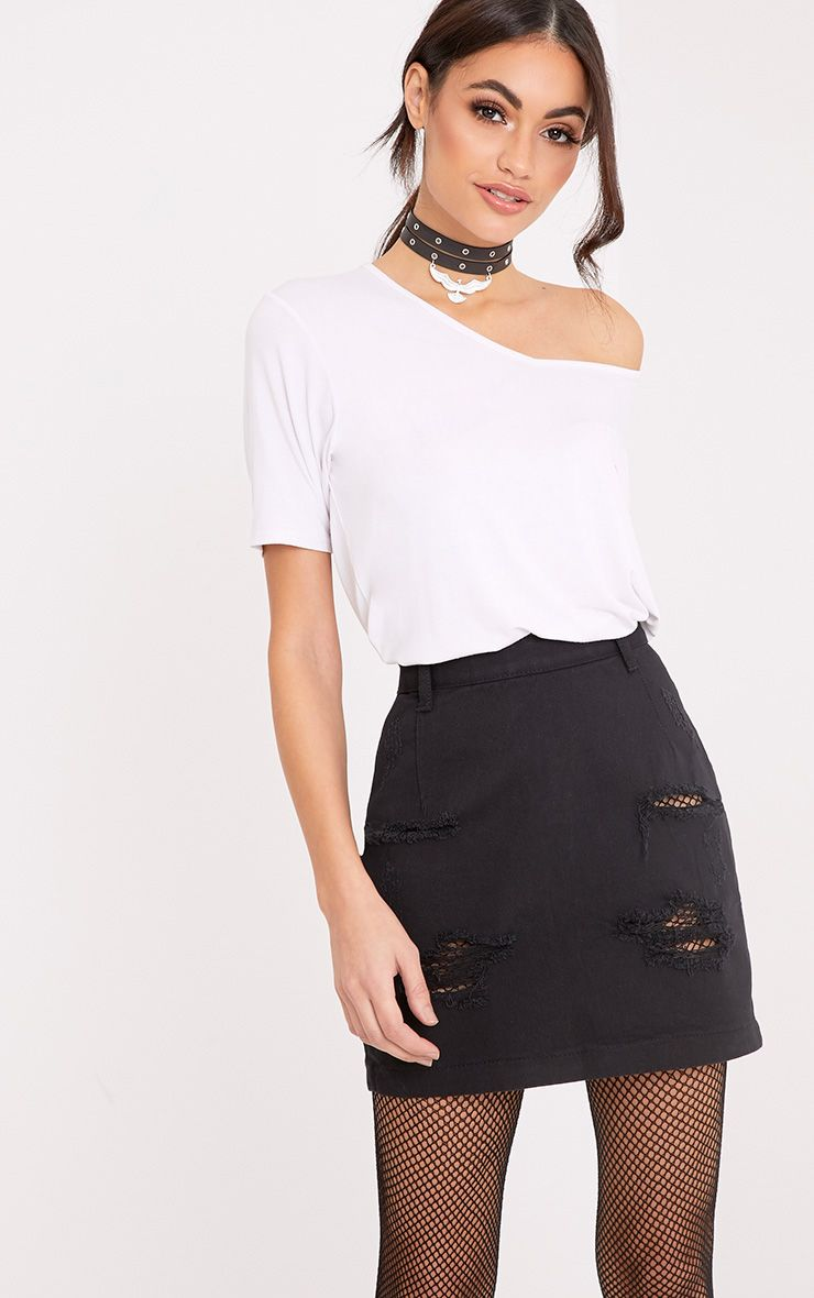 Roschian Super Distress Black High Waisted Denim Mini Skirt