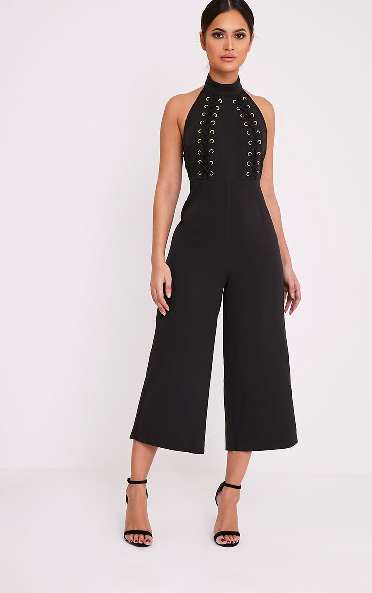 Stephanie Black Lace up Cullote Jumpsuit