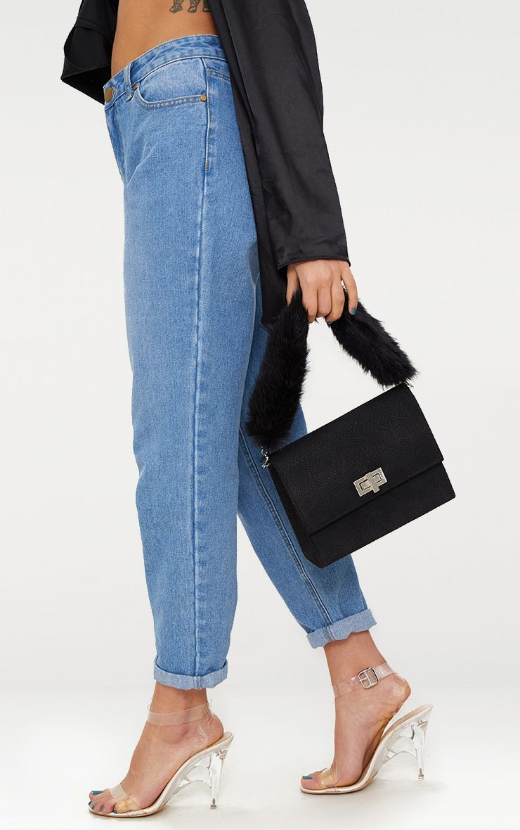 Black Faux Fur Handle Shoulder Bag