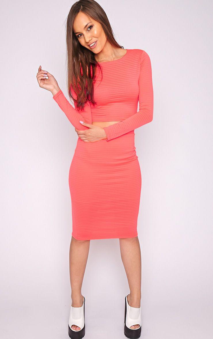 Tara Neon Coral Stripe Mesh Midi Skirt -14 1