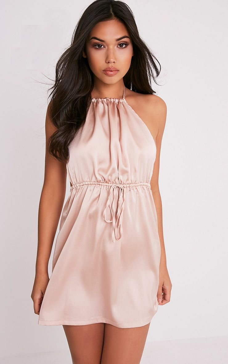 Raiane Champagne Silky Halterneck Shift Dress
