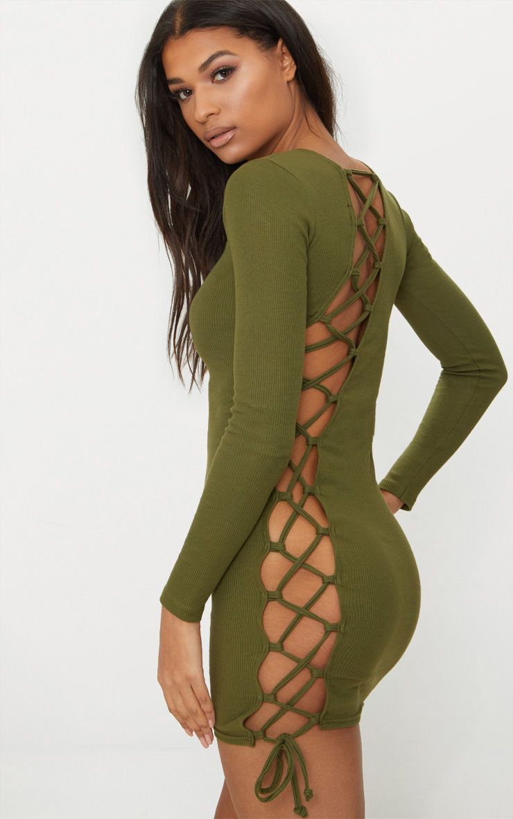 Olive Rib Long Sleeve Lace Up Back Bodycon Dress