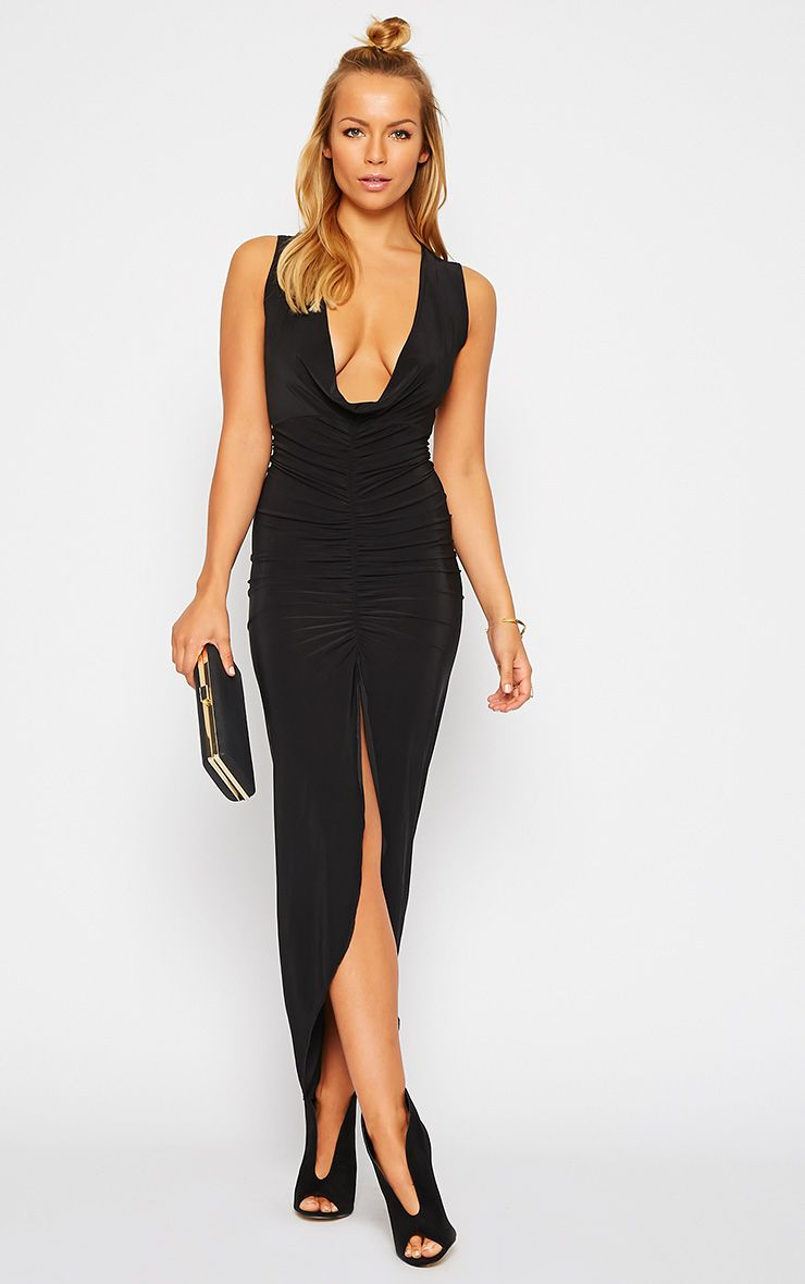 Meghan Black Slinky Ruched Maxi Dress 1