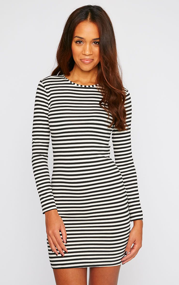 Carolina Monochrome Stripe Long Sleeve Jersey Mini Dress 1