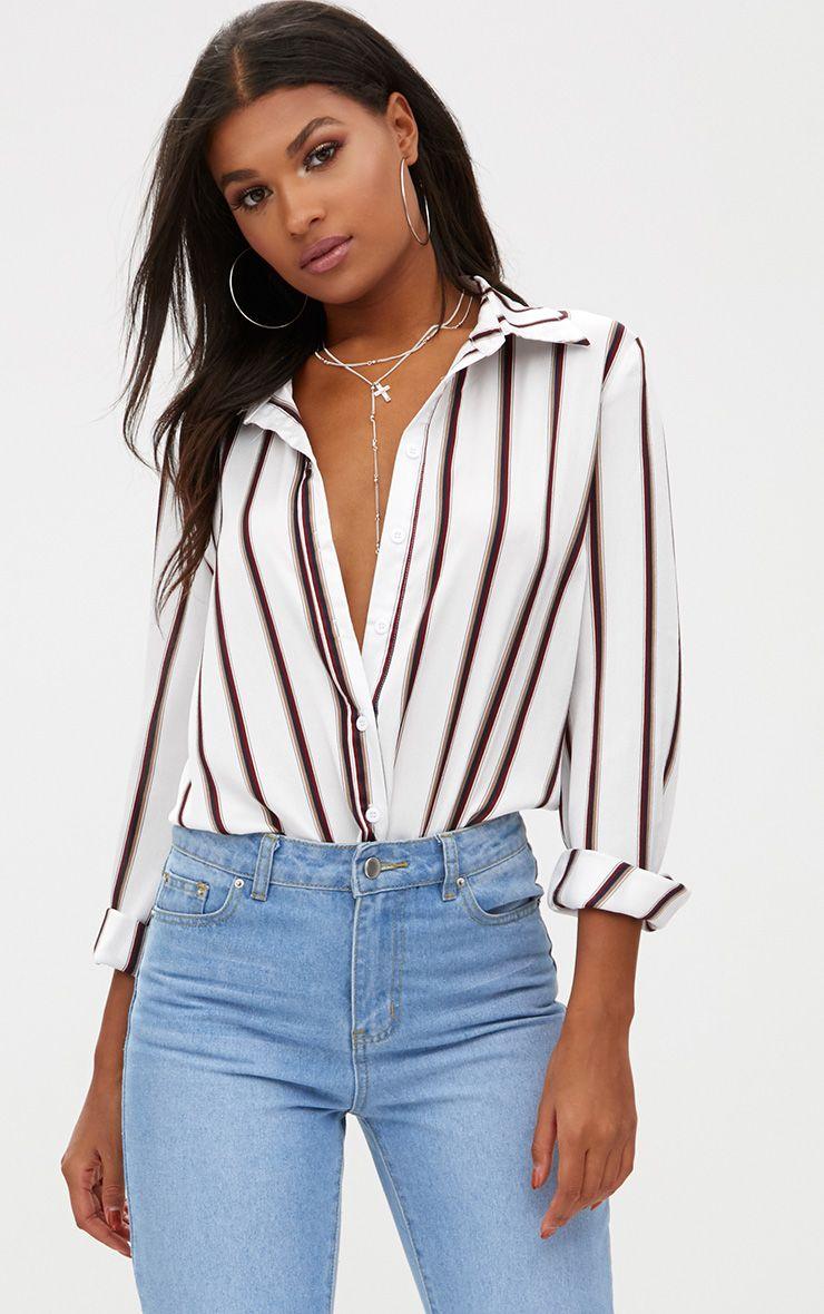 White Satin Stripe Shirt 1