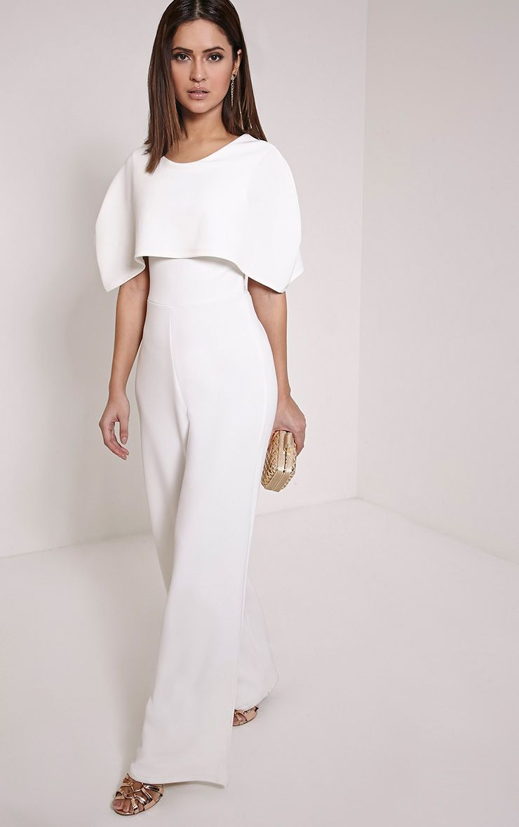 Claudie Cream Cape Jumpsuit 1