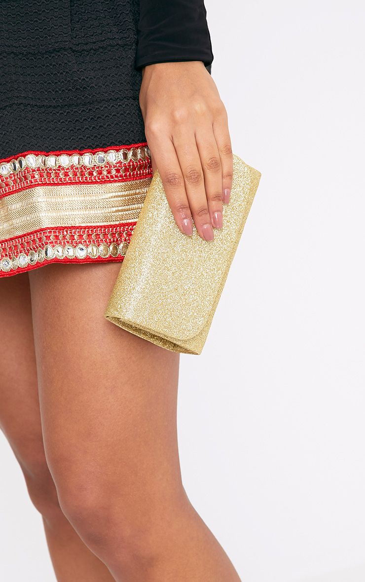 Aipha Gold Fold Over Glitter Clutch