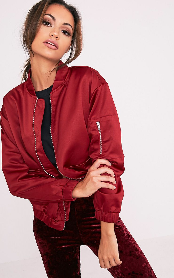 Daliya Burgundy Satin Bomber Jacket 1