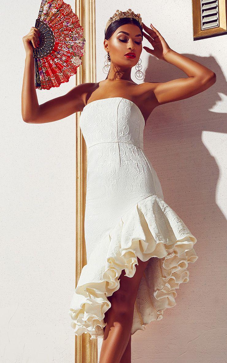 White Jacquard Bandeau Asymmetric Frill Hem Midi Dress
