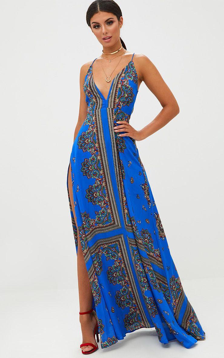 Cobalt Print Extreme Split Strappy Back Maxi Dress