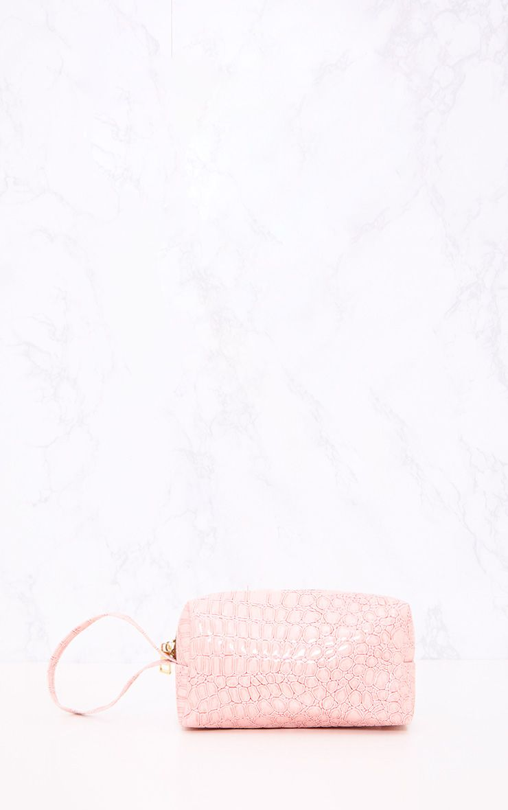 Baby Pink Reptile Embossed Make Up Bag