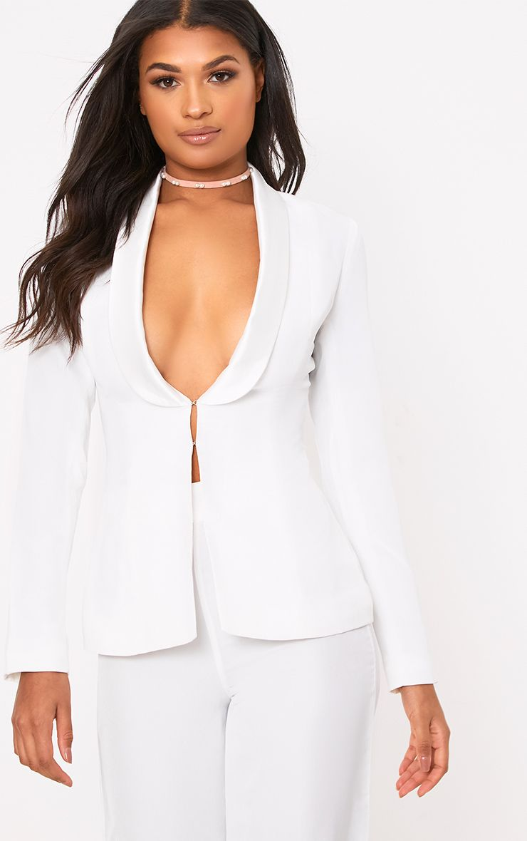 White Satin Lapel Suit Jacket
