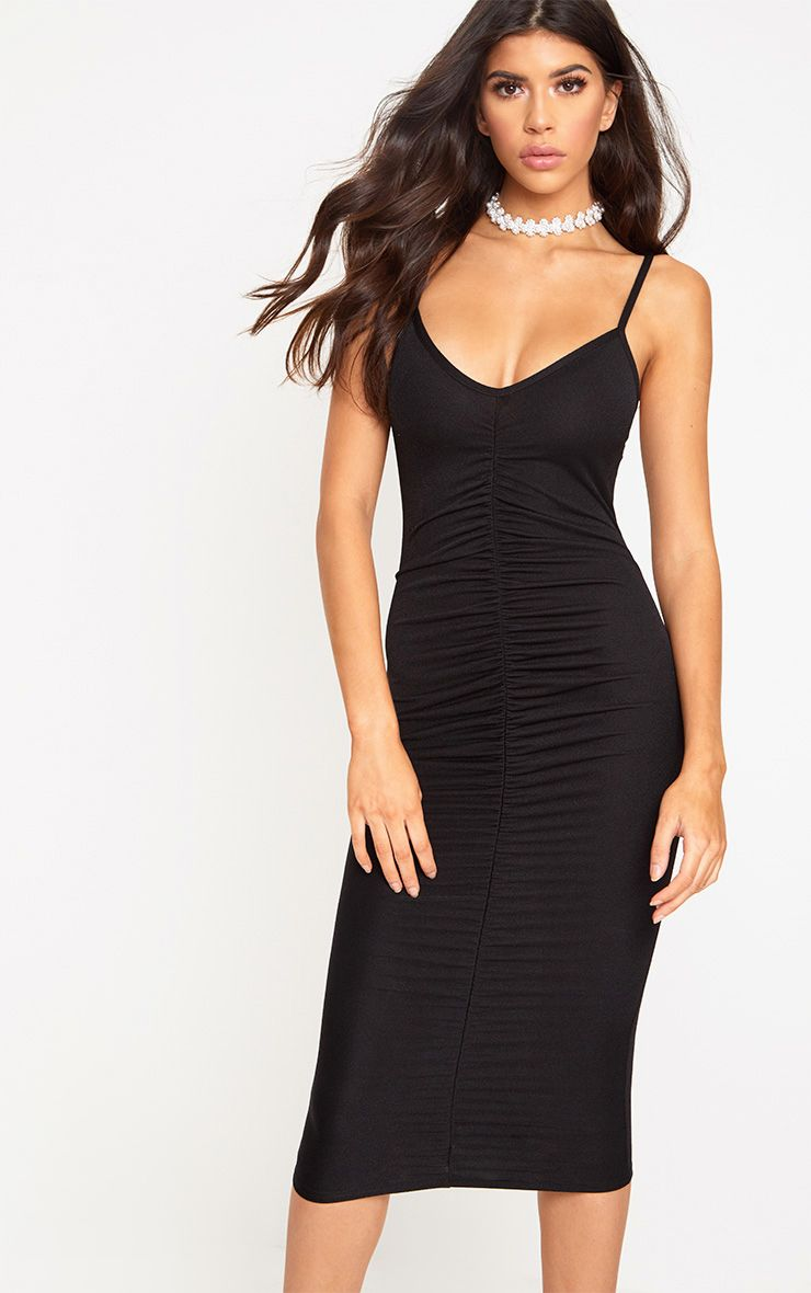 Black Strappy Ruched Midi Dress