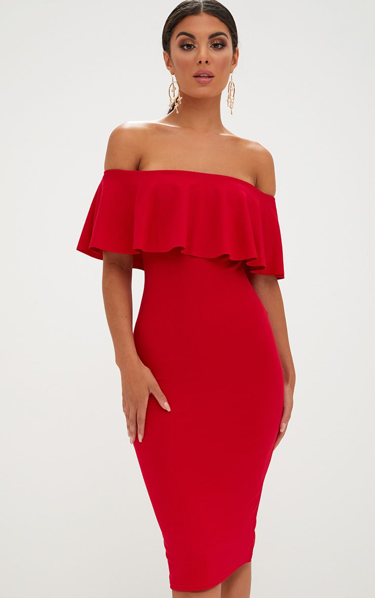 Red Bardot Frill Midi Dress