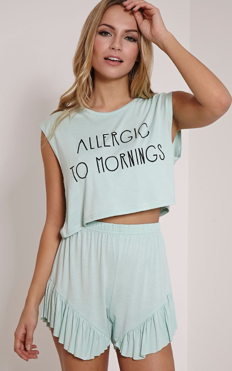 Allergic To Mornings Mint Frill Short Pyjama Set 1