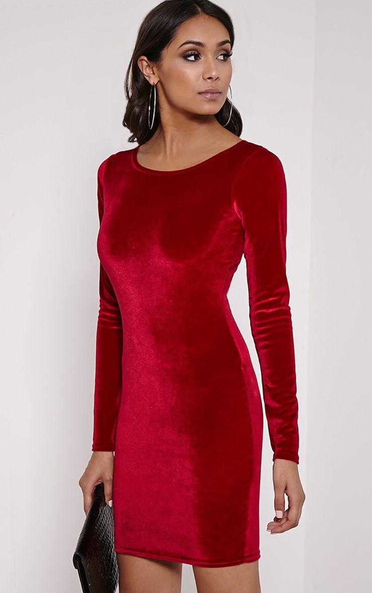 Bonny Wine Round Neck Velvet Mini Dress 1