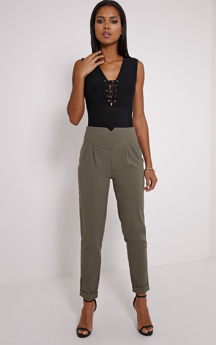 Elenor Khaki High Waisted Tapered Trousers 1