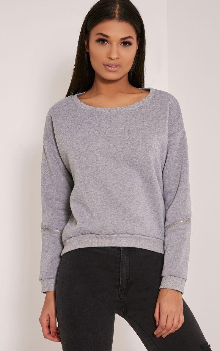 Zelina Grey Zip Sleeve Sweatshirt 1