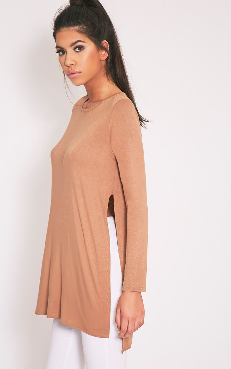 Basic Camel Longsleeve Side Split Top