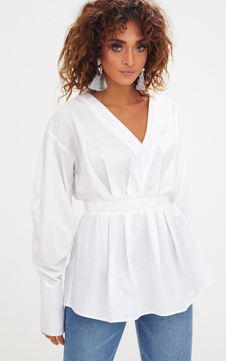 White Ruched Sleeve Gathered Waist Shirt