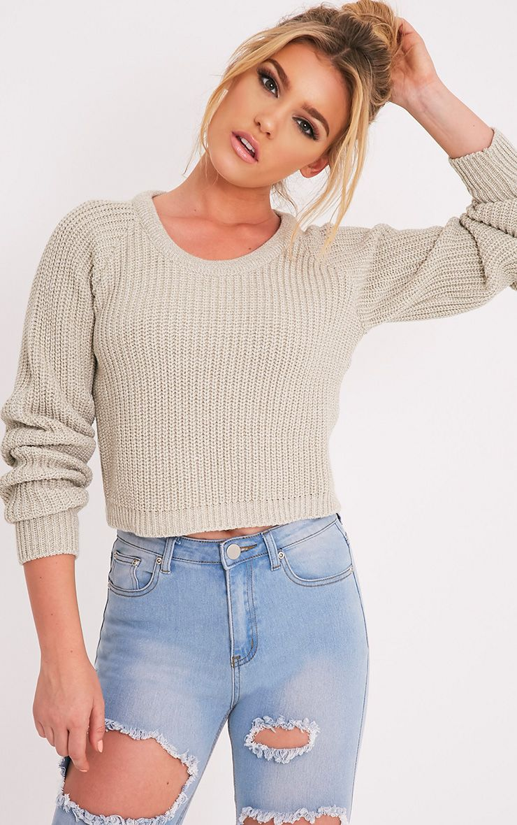Oceana Stone Mixed Knit Cropped Jumper