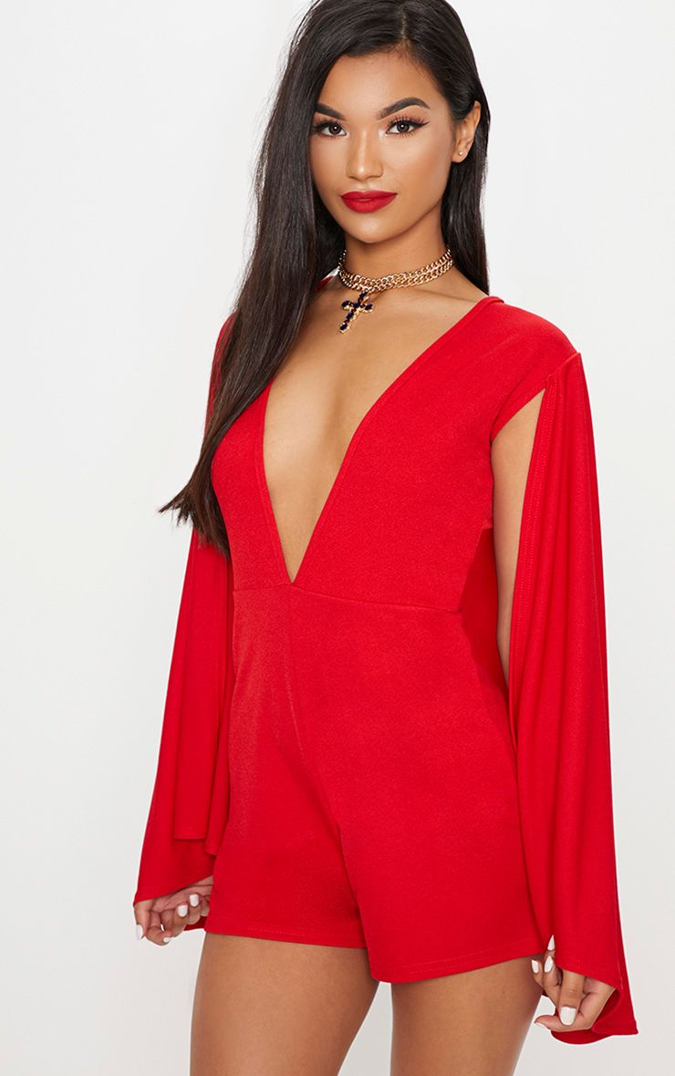 Red Crepe Cape Playsuit