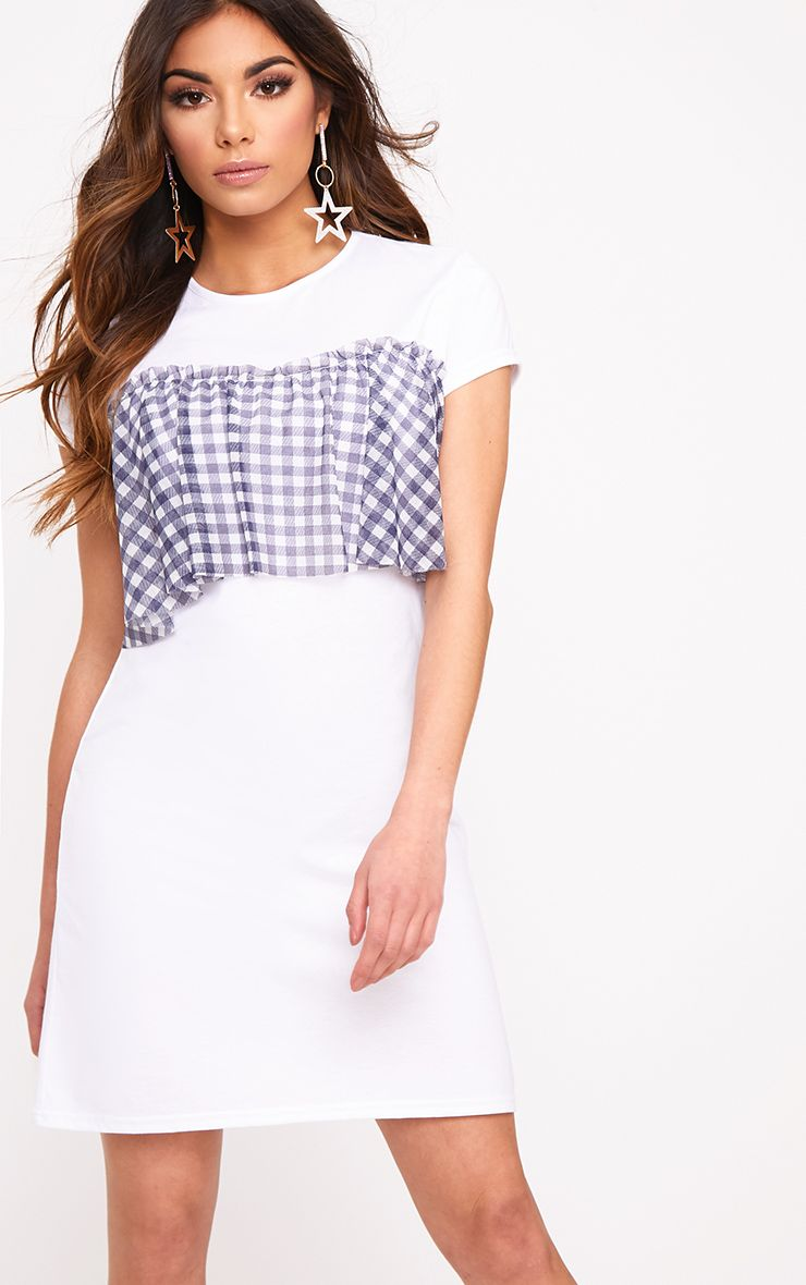 Gingham Blue Mesh Frill T Shirt Dress