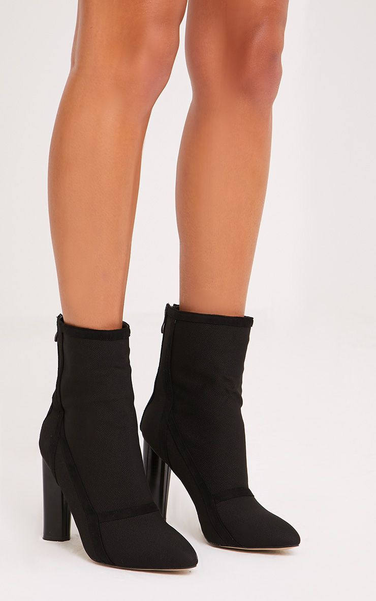 Kyra Black Panelled Sock Boots