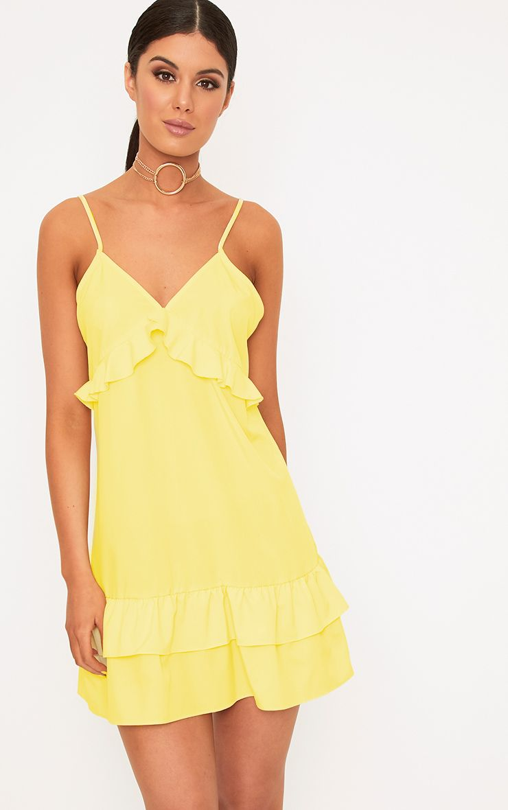Vela Lemon Frill Detail Layered Hem Shift Dress