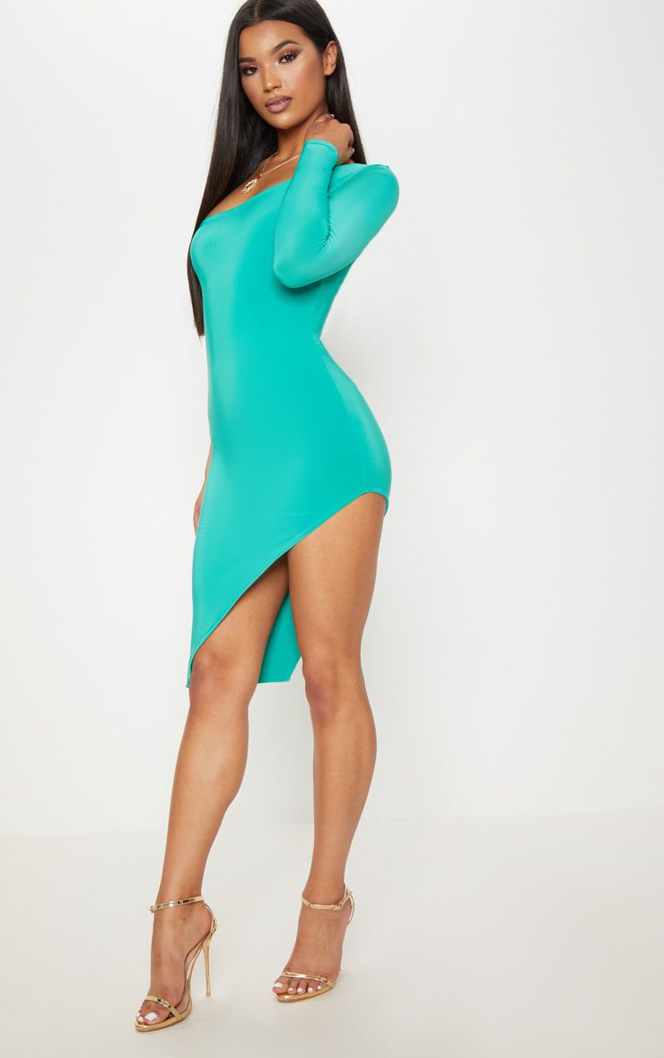 Turquoise One Shoulder Long Sleeve Exreme Split Dress