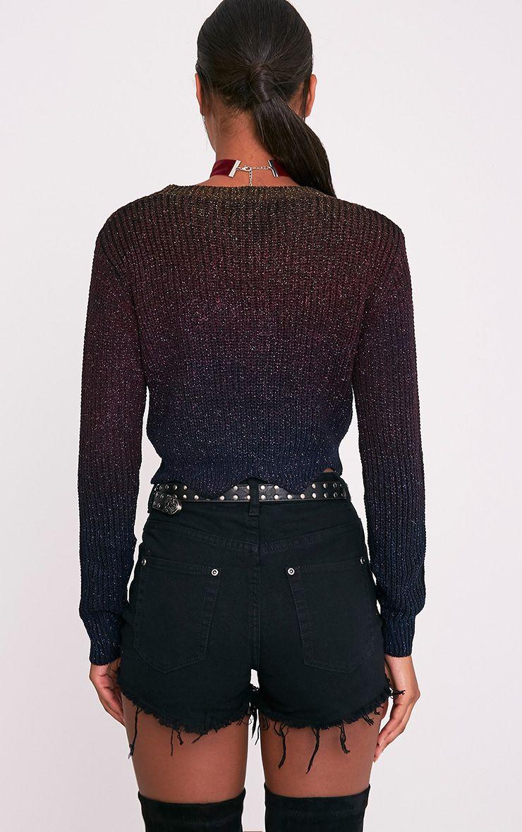 Lilla pull court surdimensionné noir à manches longues paillettes arc-en-ciel 3