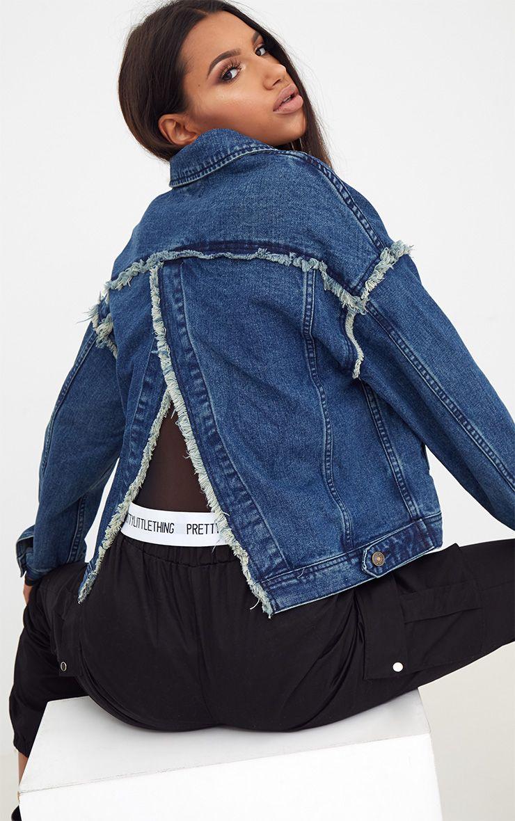 Mid Wash Split Back Frayed Edge Denim Jacket