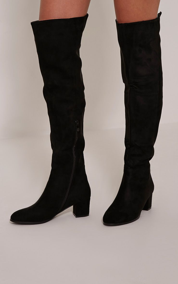 Evy Black Over The Knee Stack Heel Boots 1