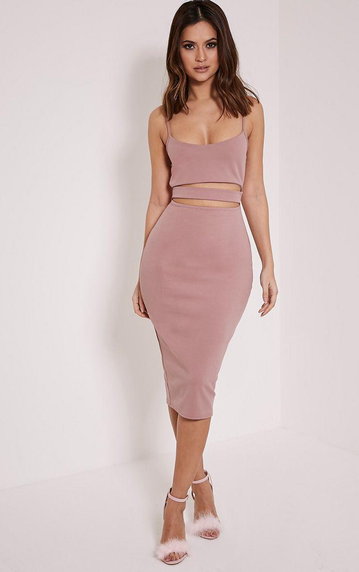 Kheelie Mauve Cut Out Midi Dress 1