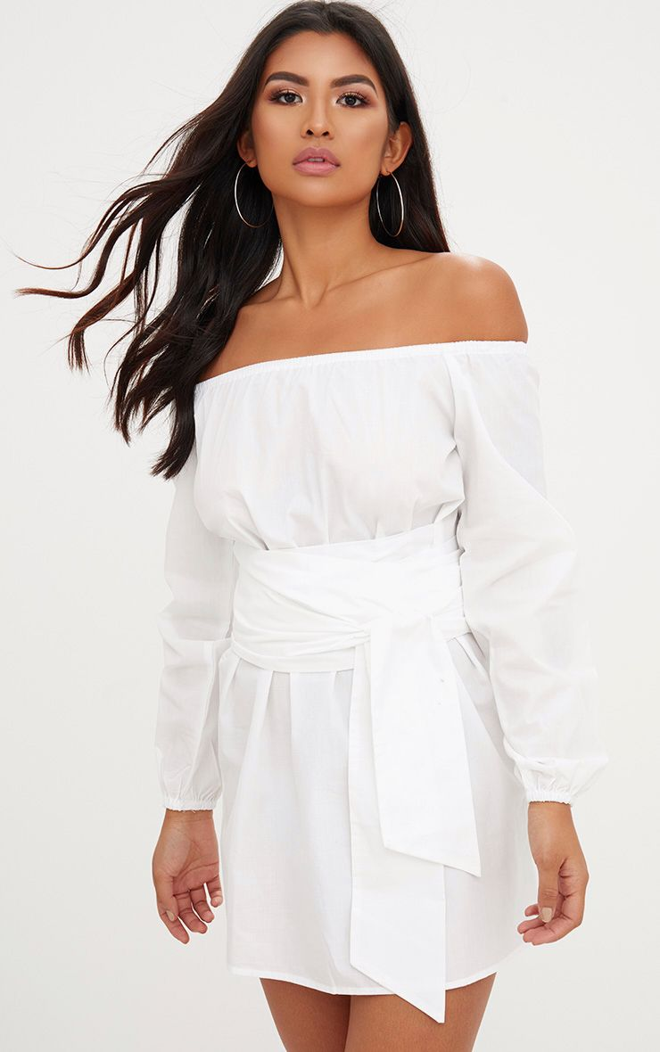 White Bardot Tie Waist Shift Dress