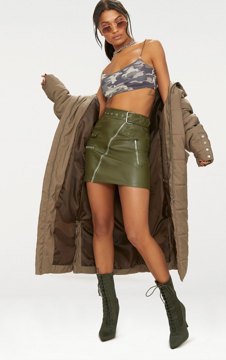 6c773afb1 PrettyLittleThing Khaki Biker Belted Mini Skirt at £25   love the brands