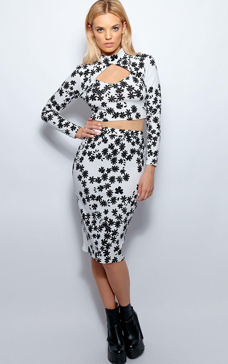 Heidi Monochrome Cut Out Floral Midi Skirt  1