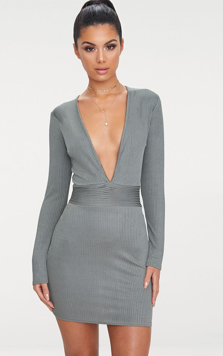 Grey Ribbed Long Sleeve Plunge Bodycon Dress