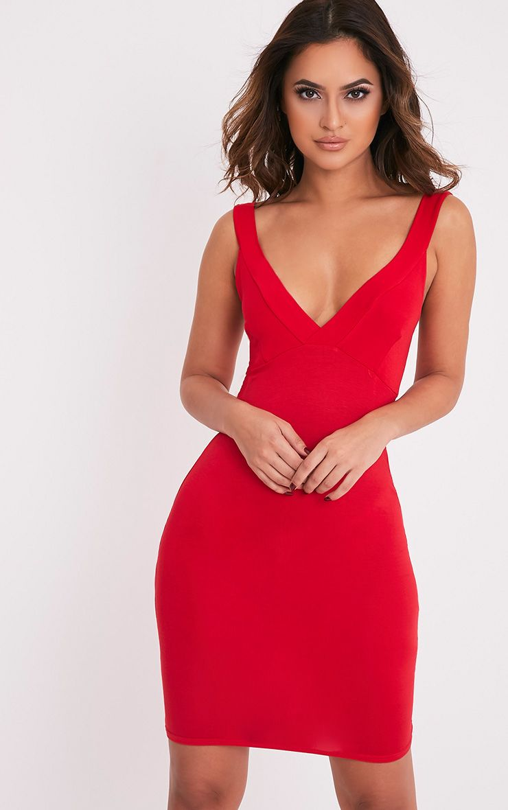 Rachie Red Strappy Plunge Bodycon Dress