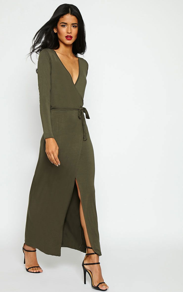 Pennie Khaki Wrap Front Maxi Dress 1