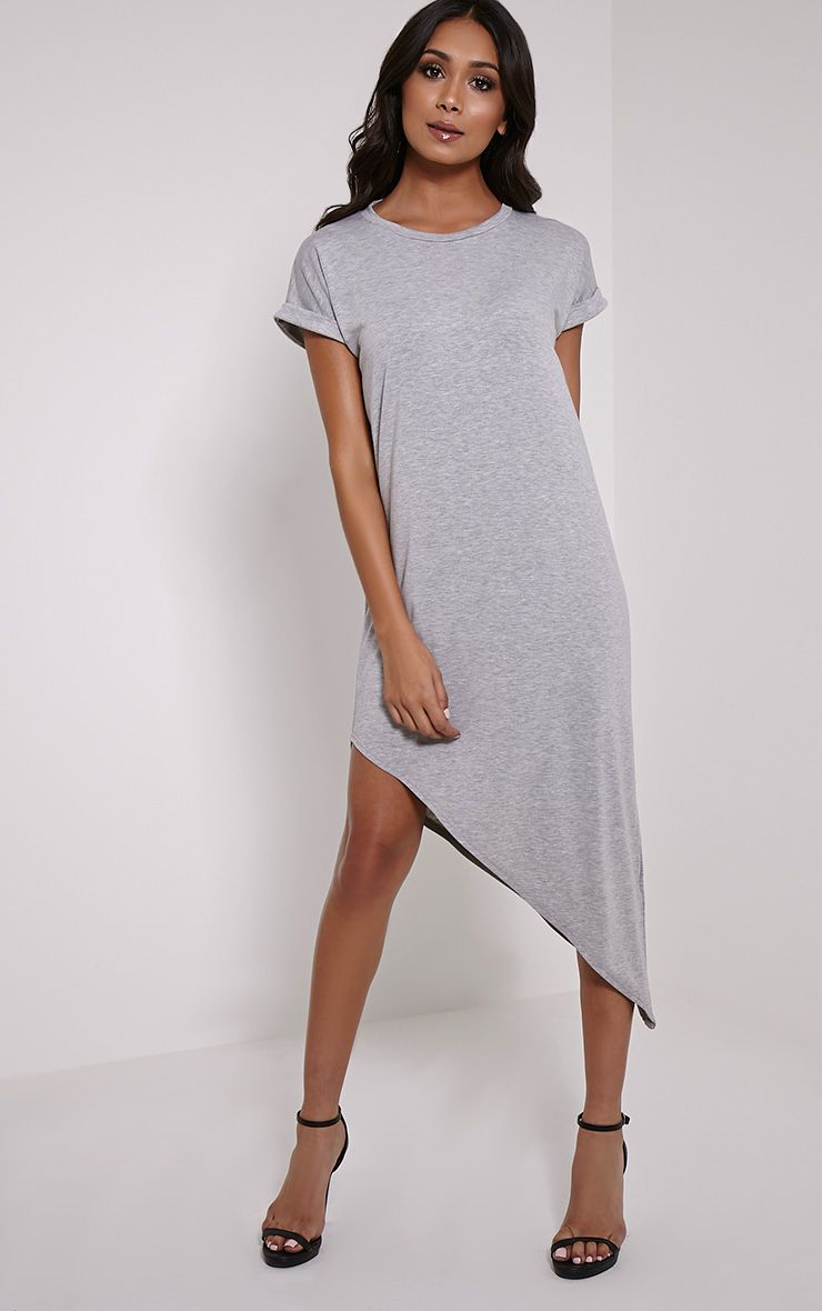 Nolah Grey Asymmetric T-Shirt Dress 1